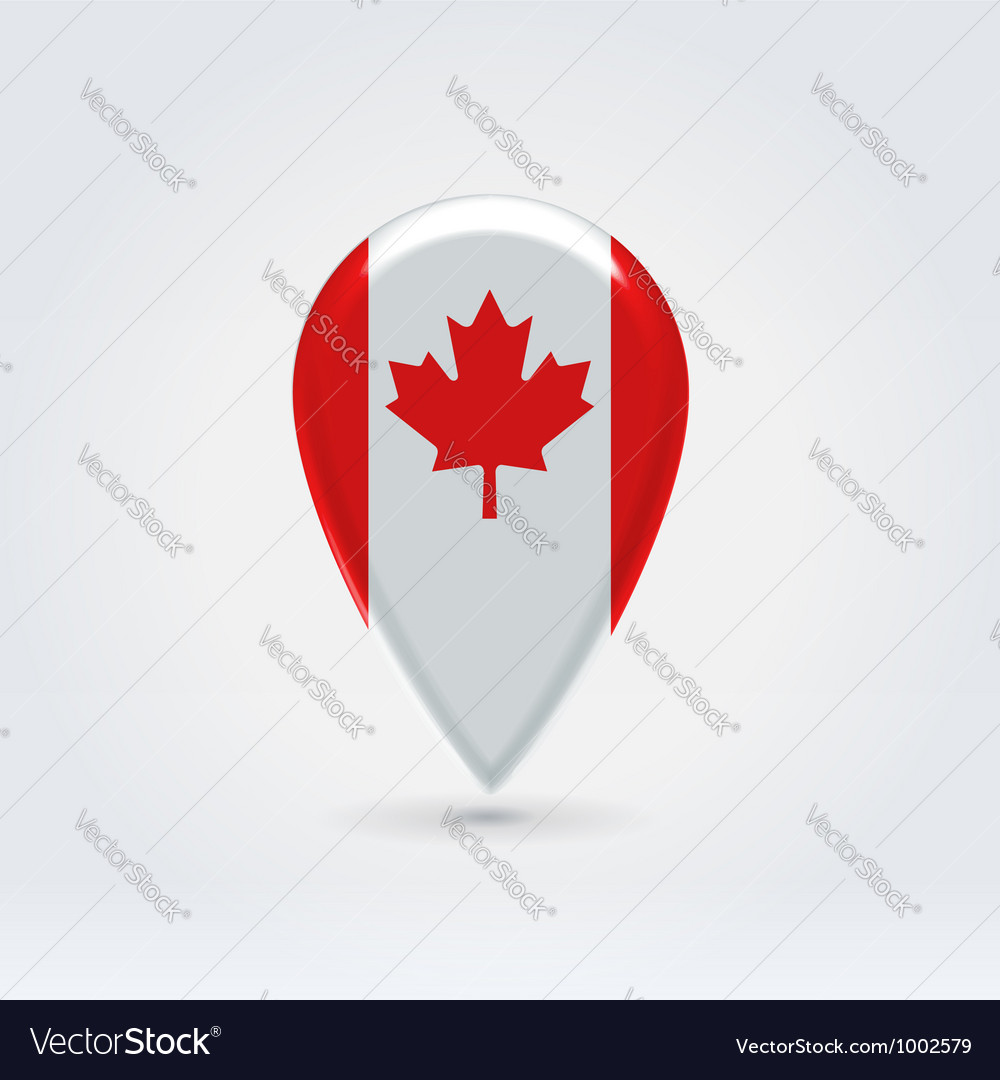Canadian icon point for map Royalty Free Vector Image
