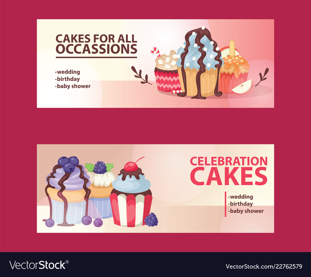 Cupcake poster design bakery cake dessert card