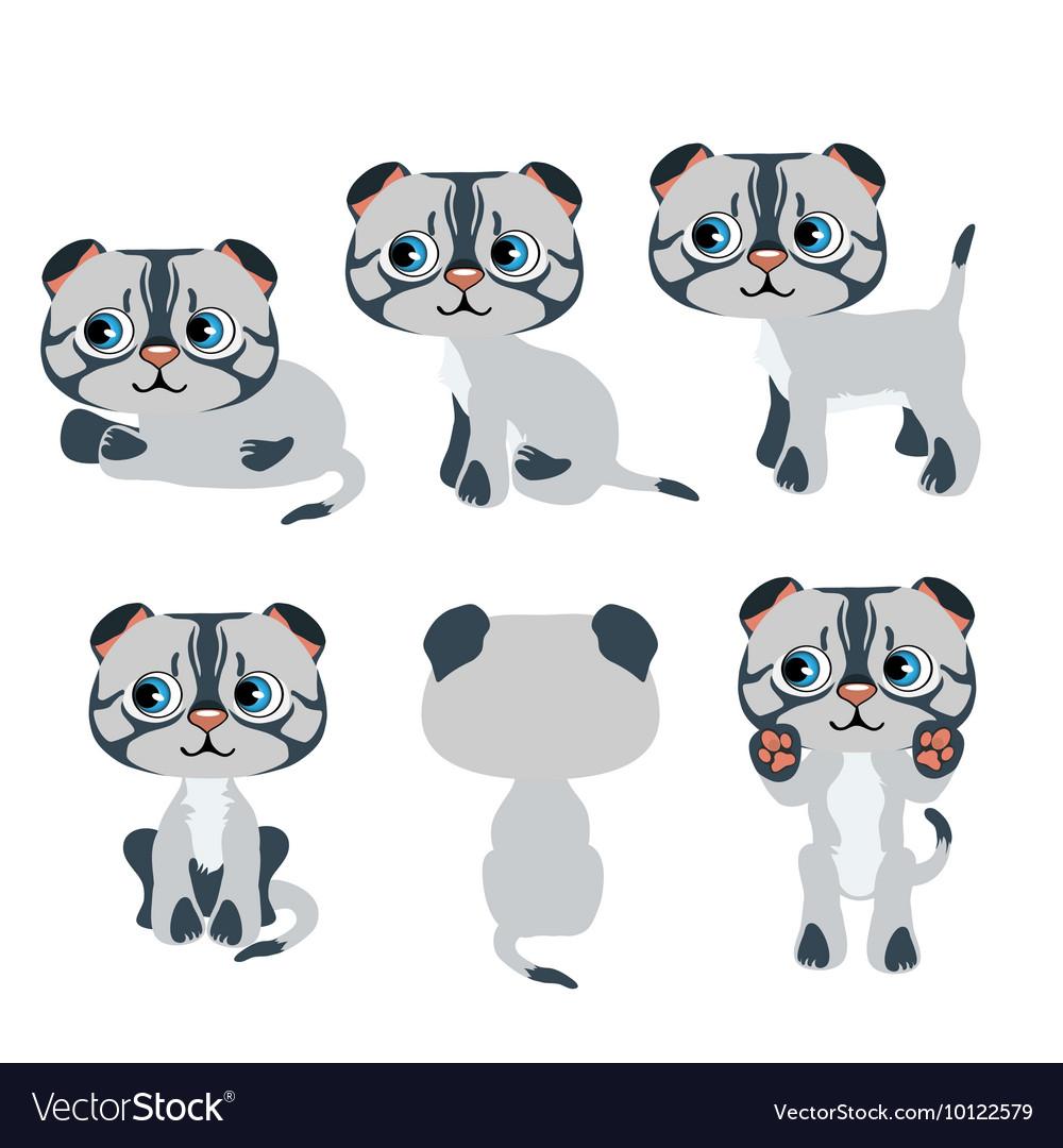 Cute cartoon gray kitten for animation pets