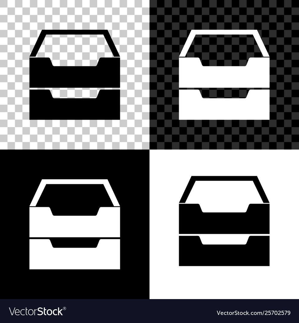 Drawer with documents icon isolated on black