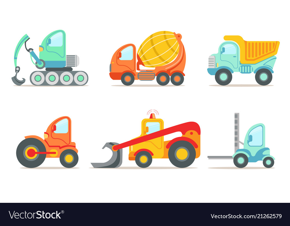Flat set of colorful construction and cargo