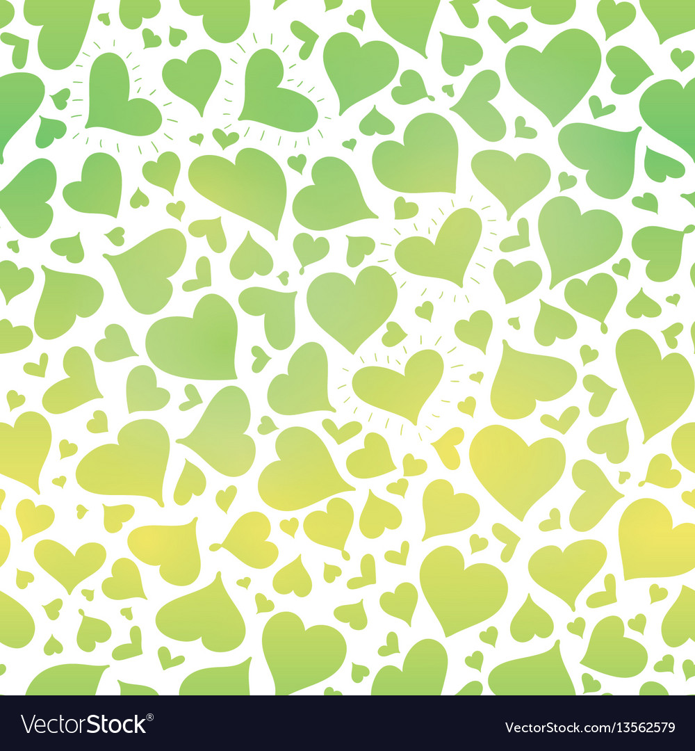 Green gradient hearts seamless pattern