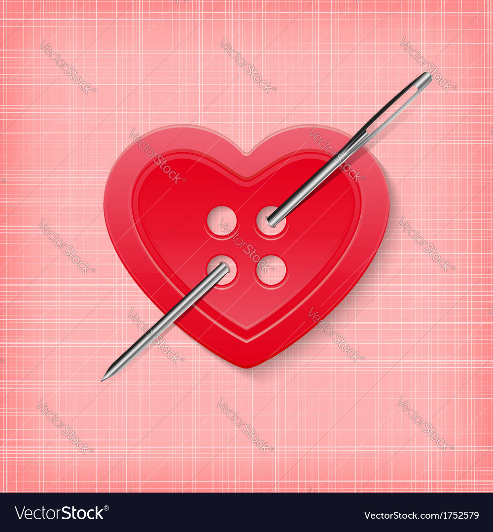Heart shaped button with a needle on a striped
