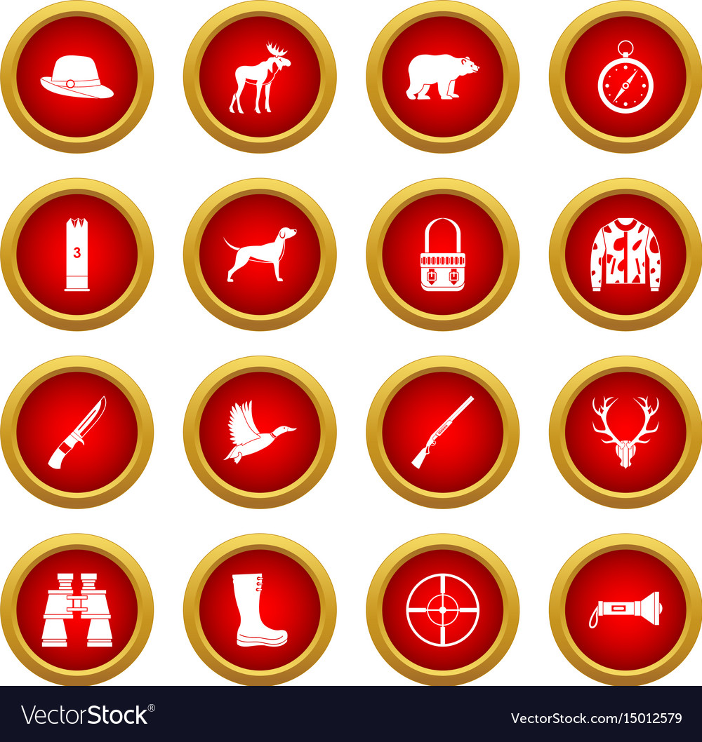 Hunting icon red circle set vector image