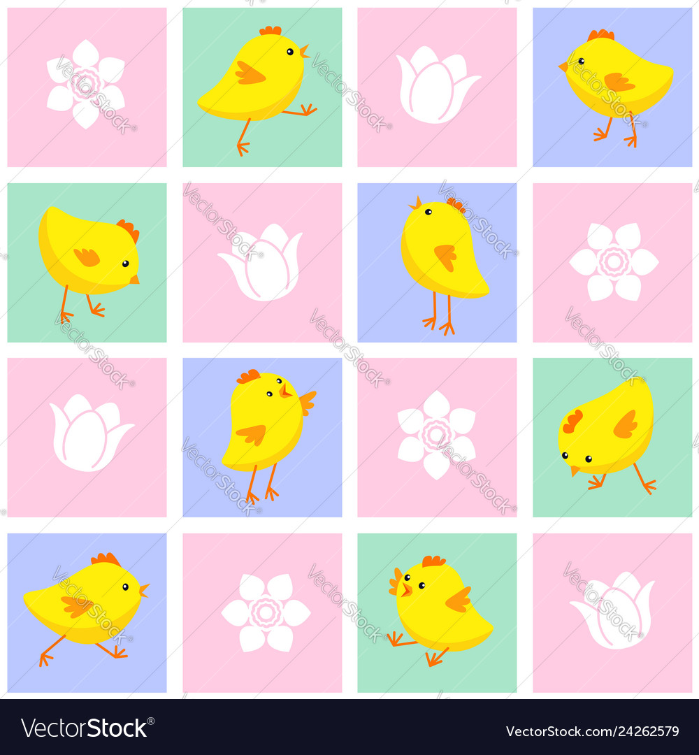 Seamless eastern pattern with chickens and flowers