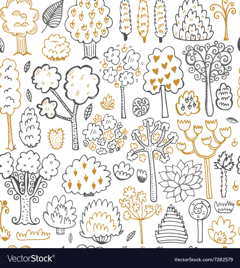Seamless sketch pattern with trees