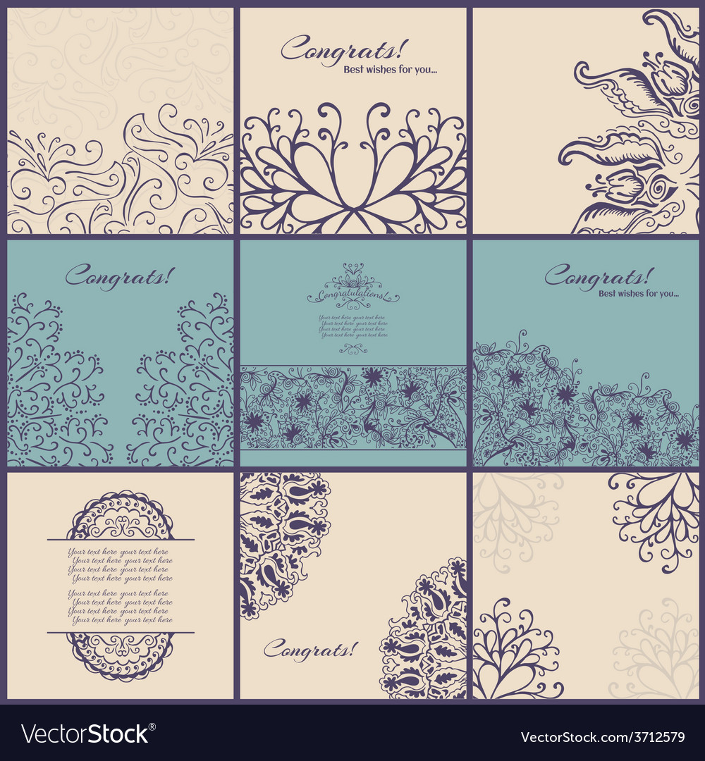 Set of vintage Congrats cards with lace ornament