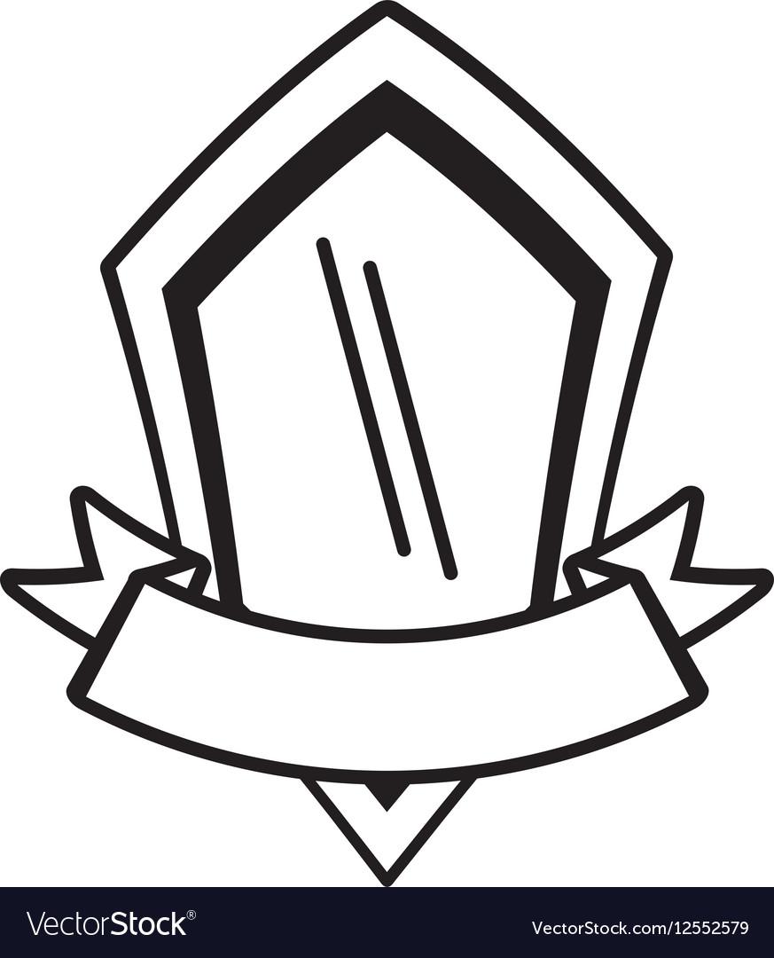Shield premium ribbon template outline empty vector image
