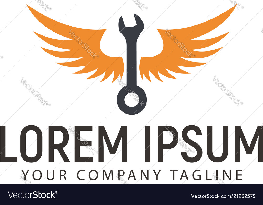 Wrench wings logo design concept template