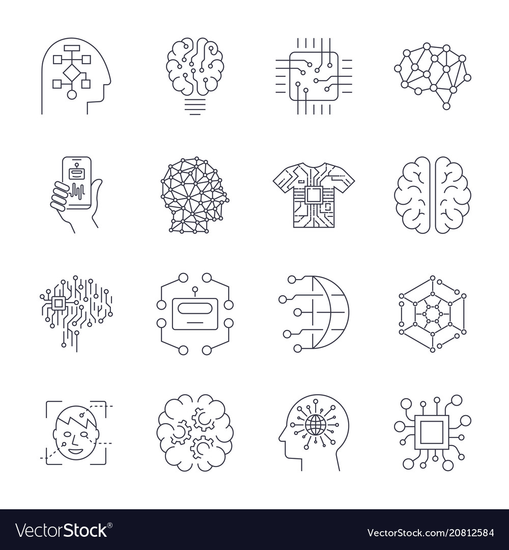 Artificial intelligence ai icon set