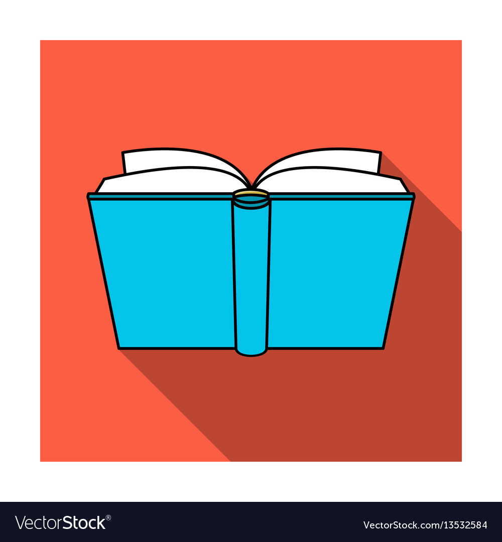 Blue opened book icon in flat style isolated on