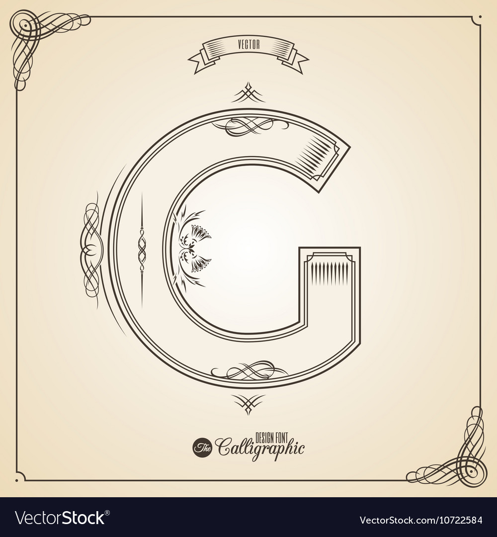 Calligraphic Fotn with Border Frame Elements and