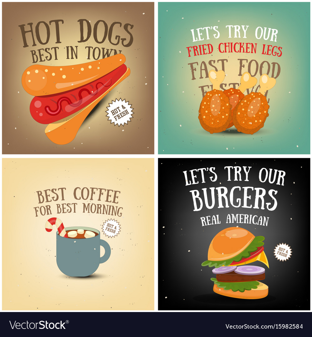 Coffee fast food ice cream posters