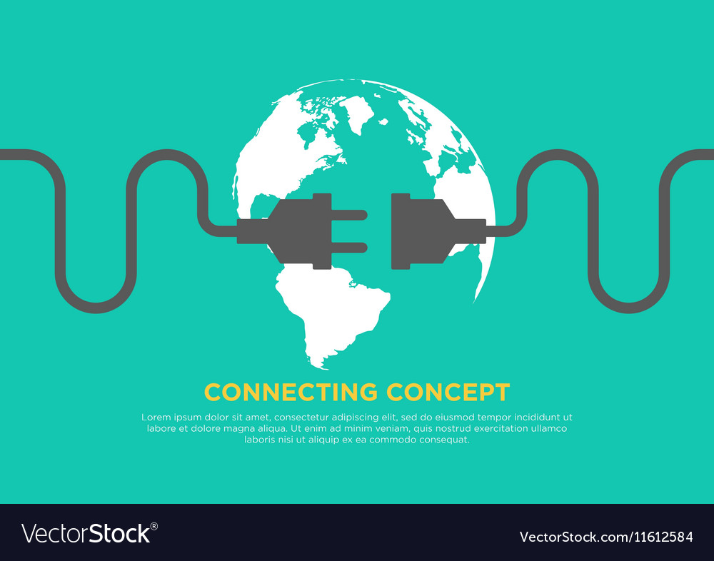 Connection concept flat design global connecting