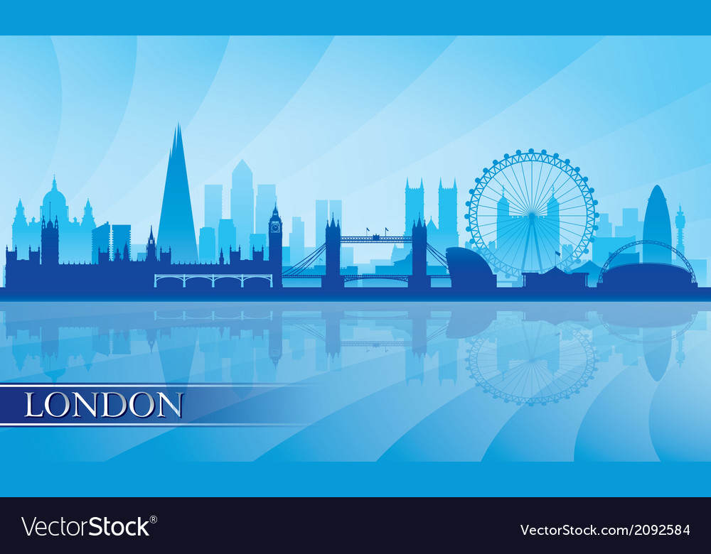 london city skyline silhouette background vector image. Black Bedroom Furniture Sets. Home Design Ideas