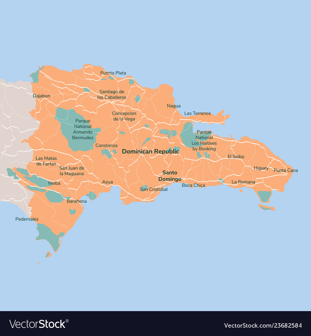 Map dominican republic isolated