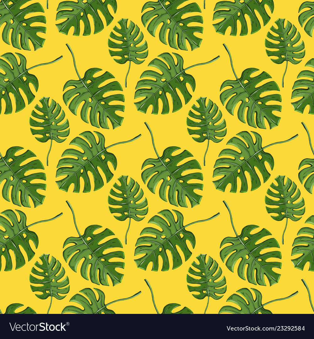 Monstera plant seamless pattern on a yellow