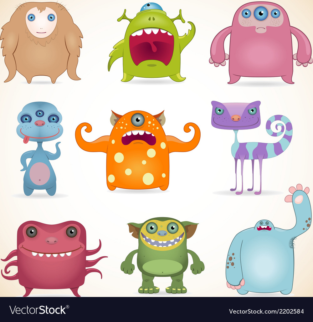 Monsters set2 vector image