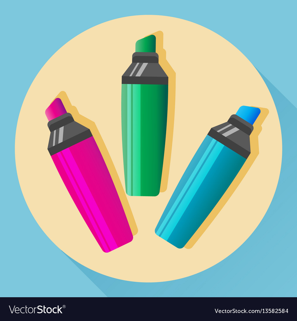 Multicolored highlighters vector image