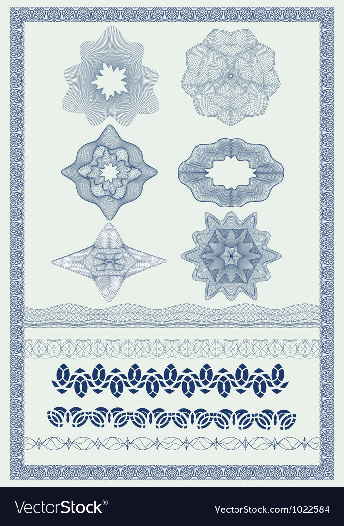 Pattern for currency certificate or diplom vector image