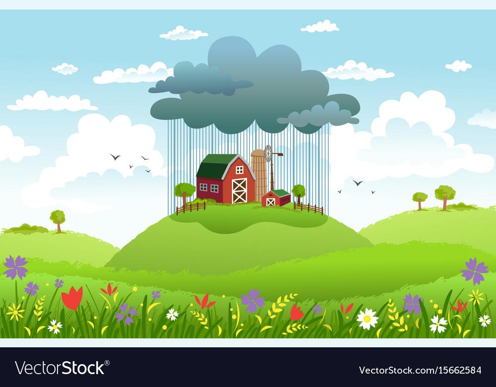 Rain over one farm vector image