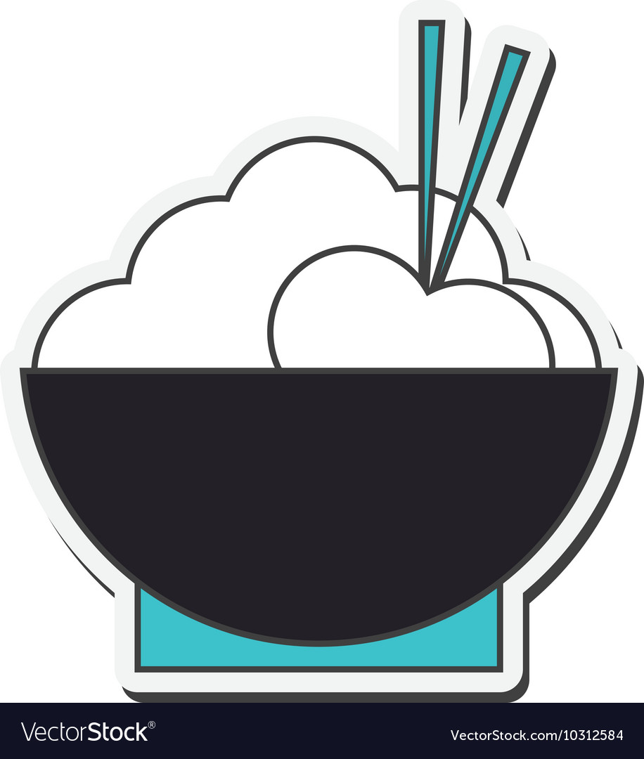 Rice bowl with chopsticks icon vector image