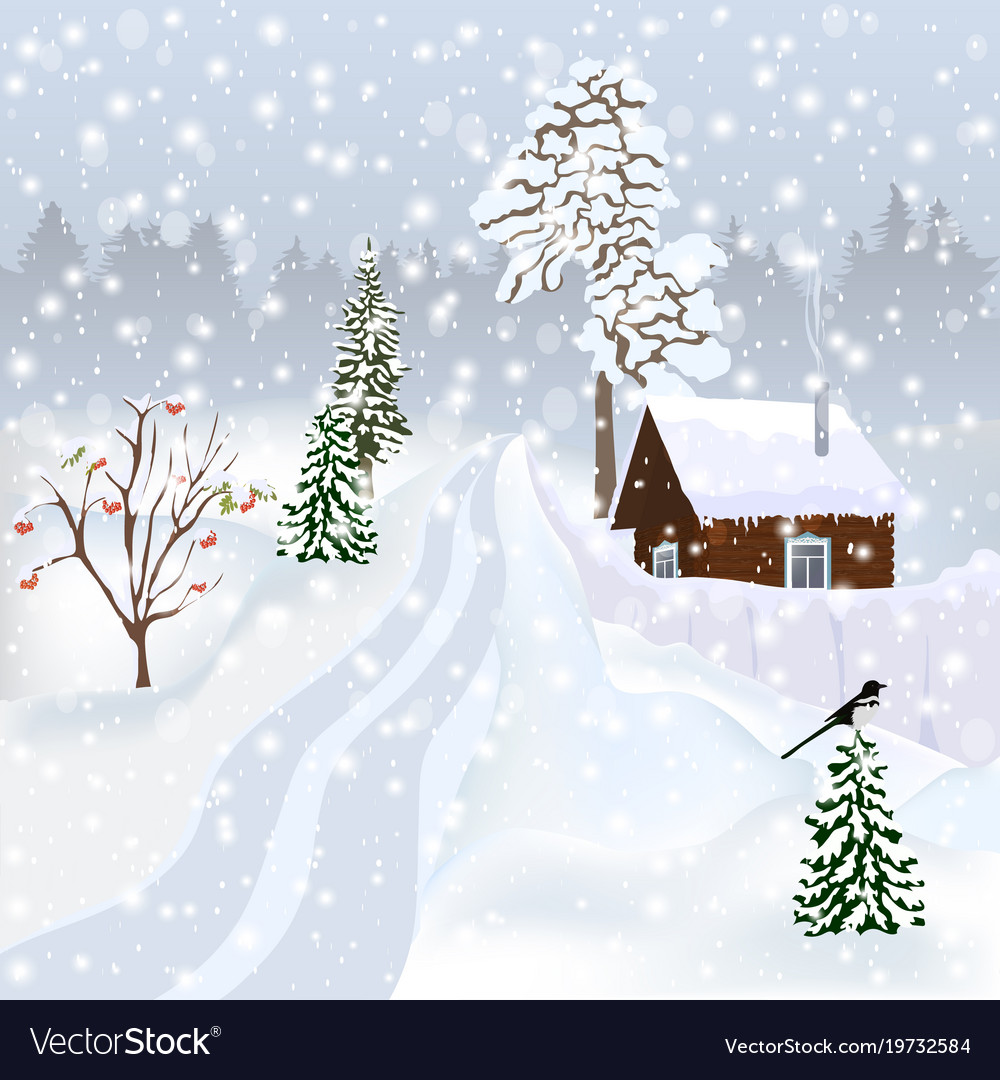 c3fc4f44f6fad1 Russian winter landscape for postcard poster alb Vector Image