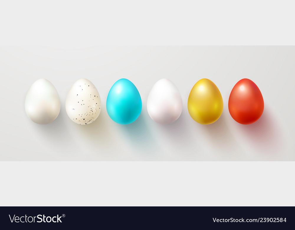 Set of color easter eggs with shadow traditional