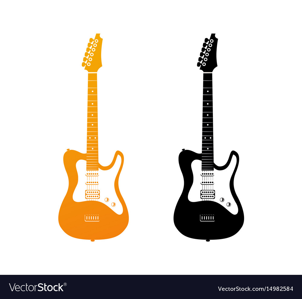 Set of icons with electric guitars