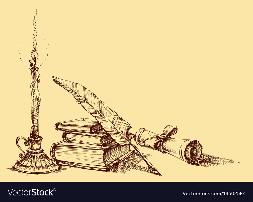Stack of books paper scroll quill pen vector image