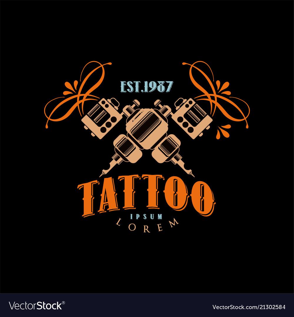 Tattoo studio logo design template estd 1987 Vector Image