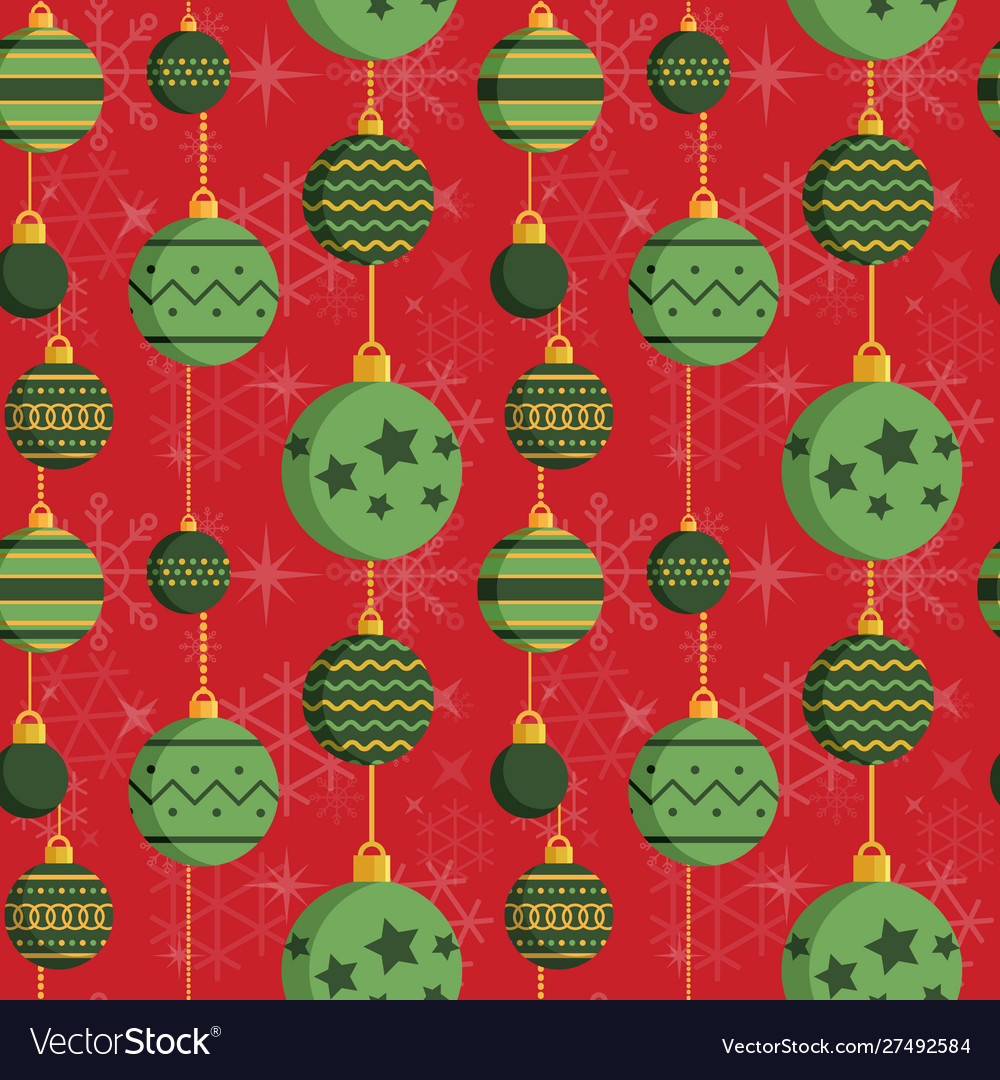 Vintage baubles christmas ornament pattern in flat
