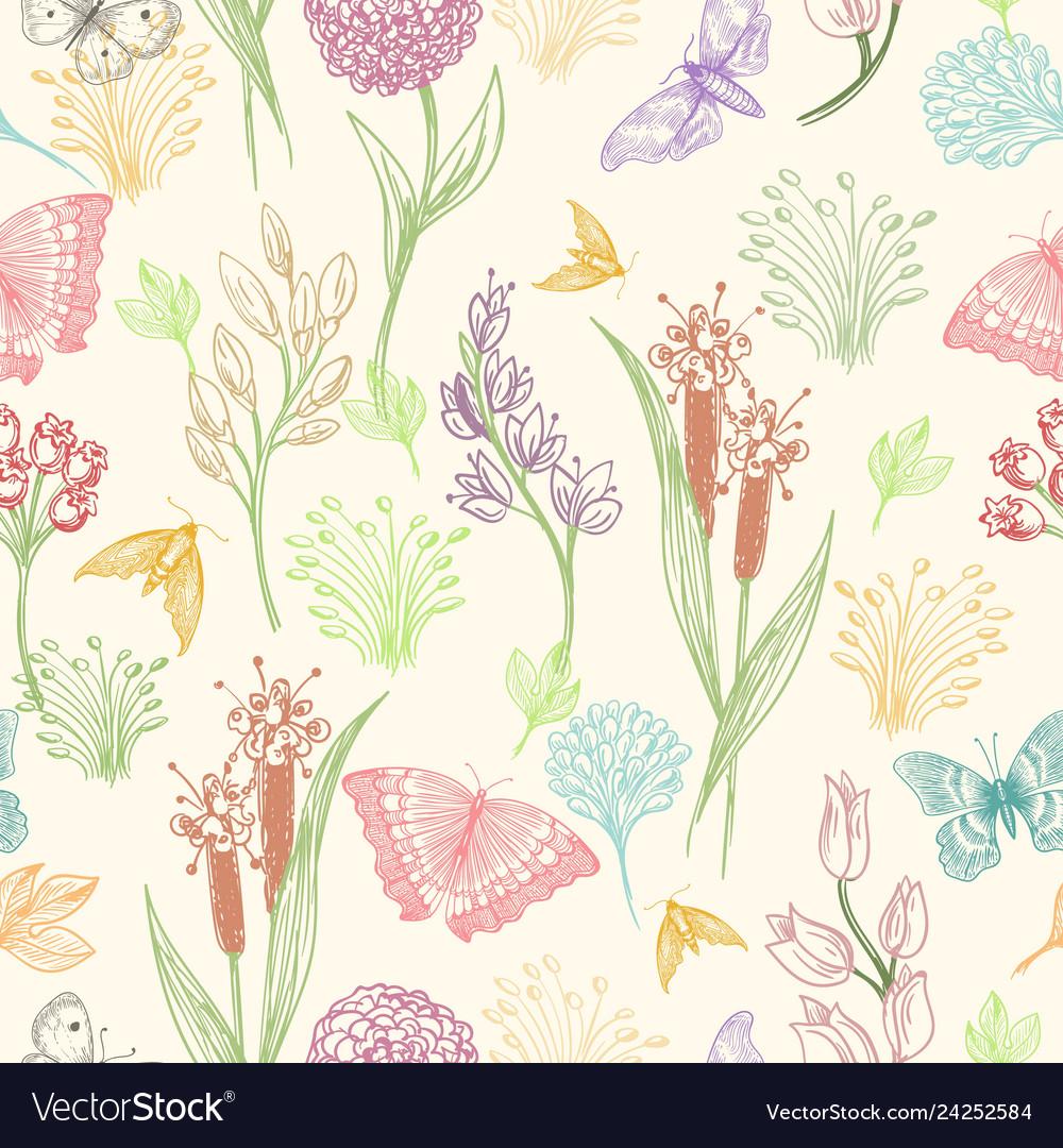 Wildflower sketch pattern