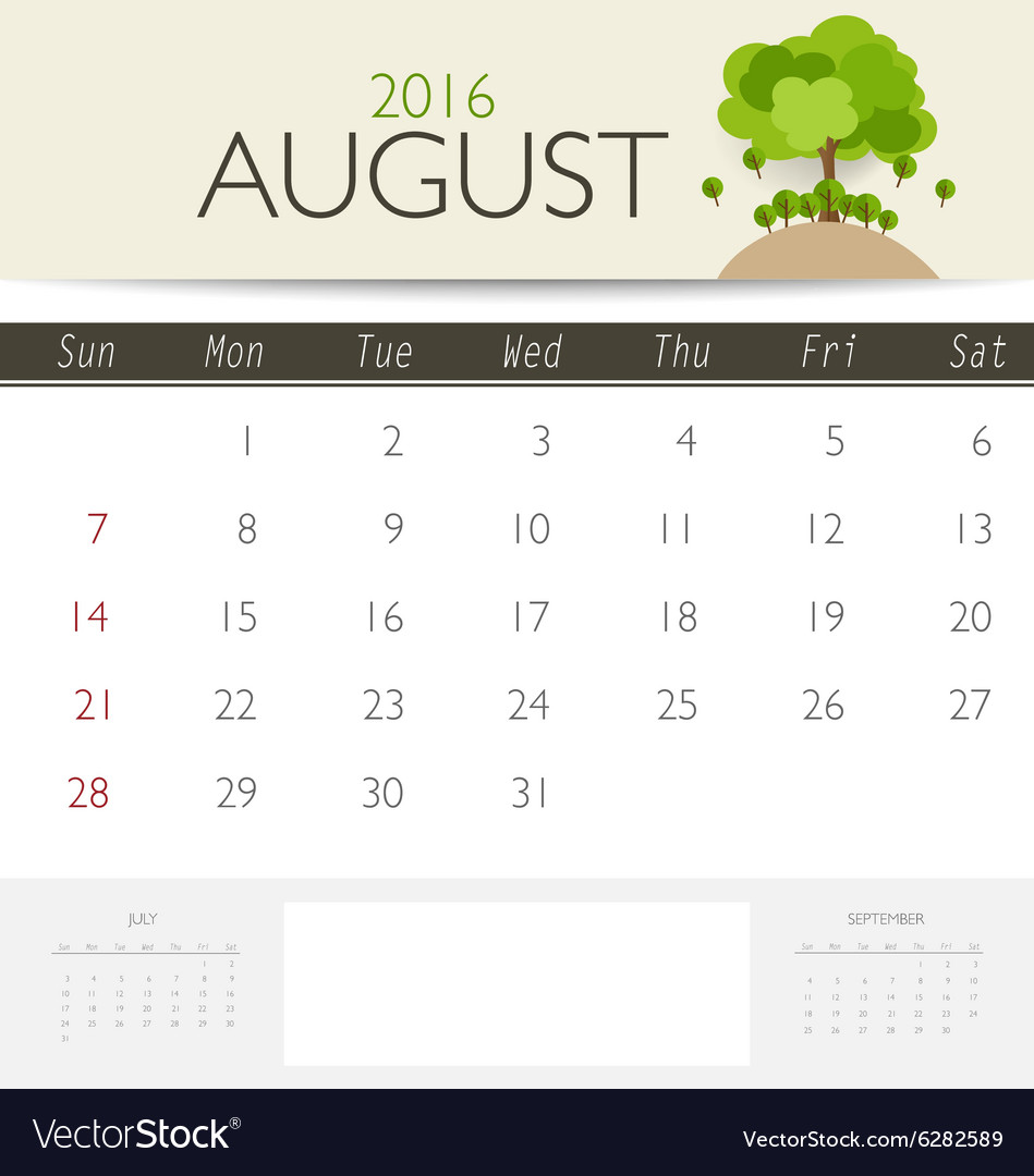 2016 calendar monthly calendar template for august