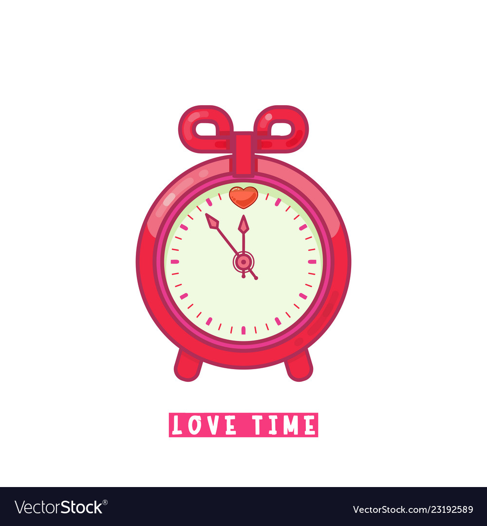 Alarm clock with heart flat design style