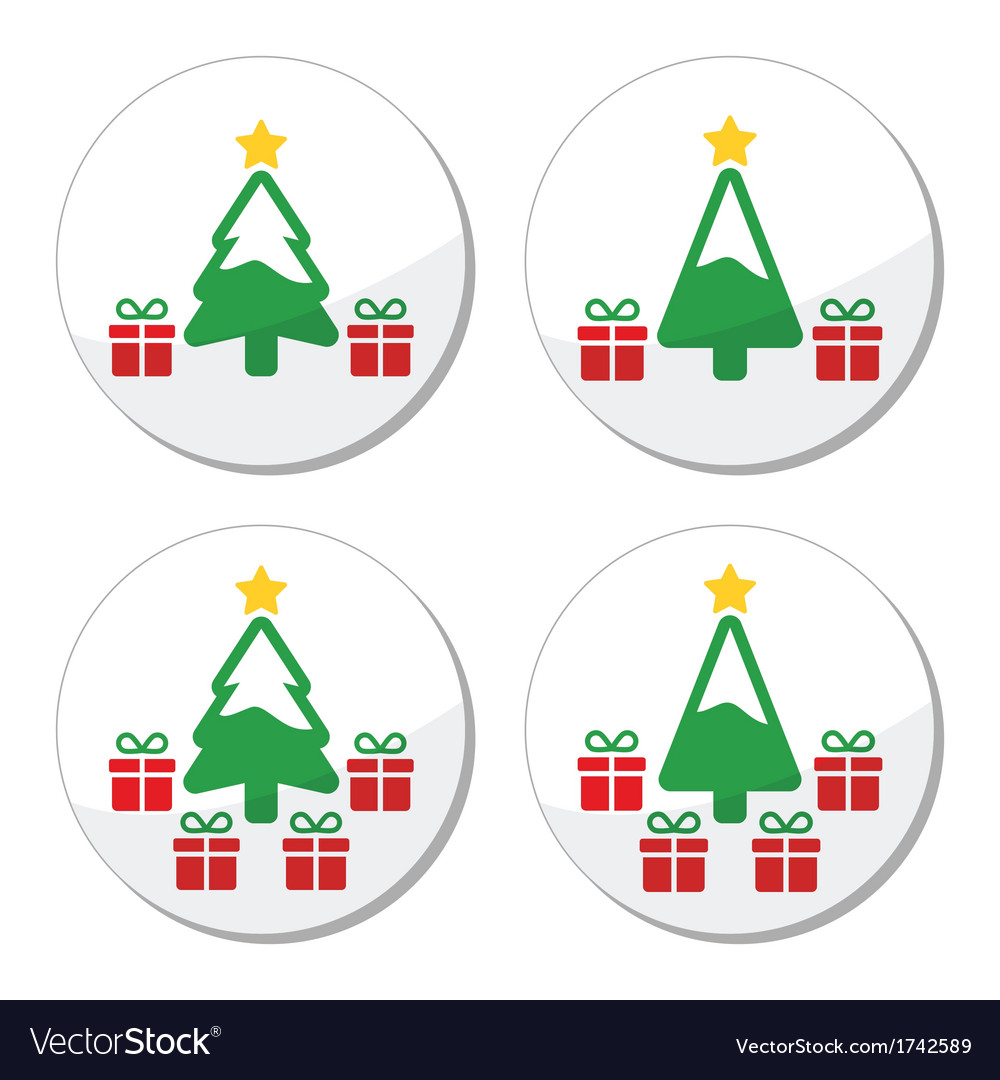 Christmas tree with presents icons set