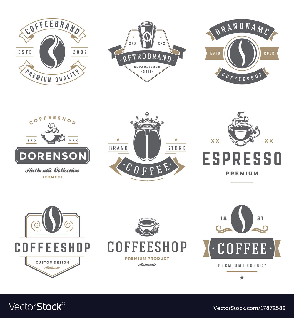 Coffee shop logos templates set bean silhouette
