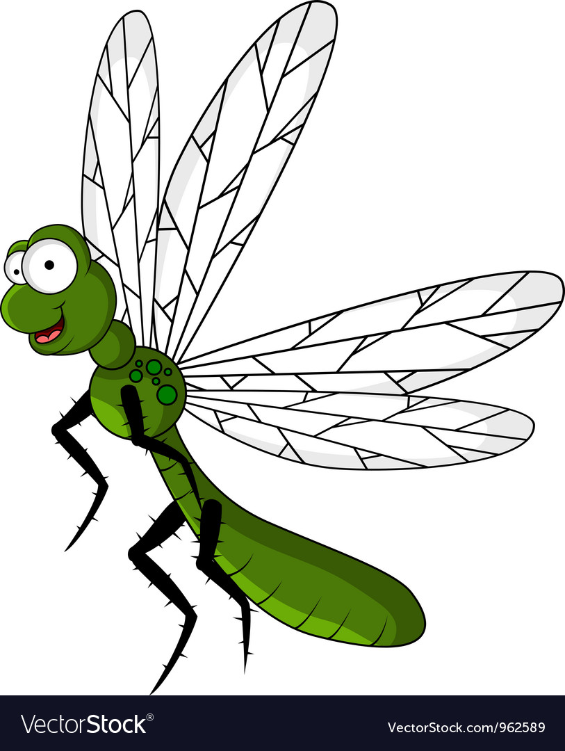 Funny green dragonfly cartoon