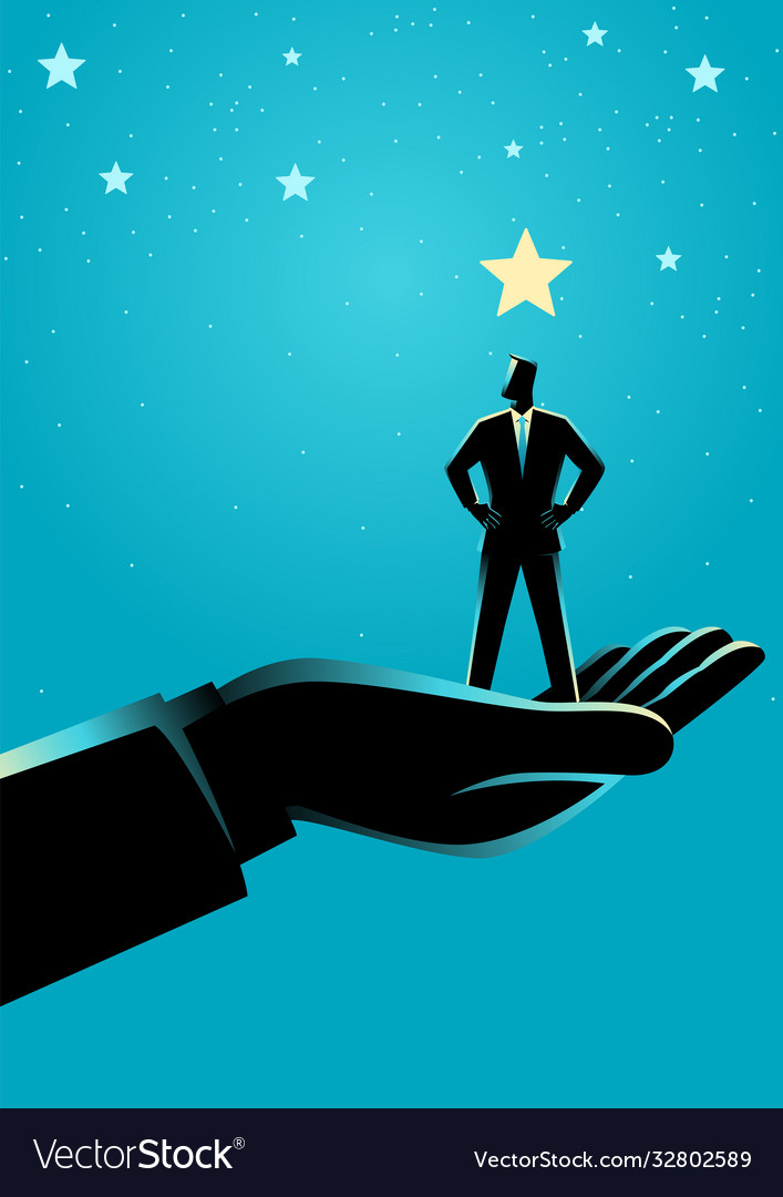 Giant hand lifting up a businessman to stars