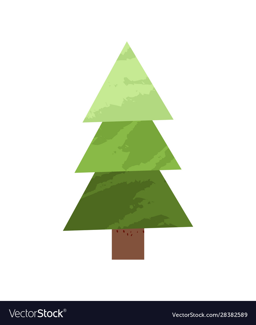 Green spruce tree made simple triangles design