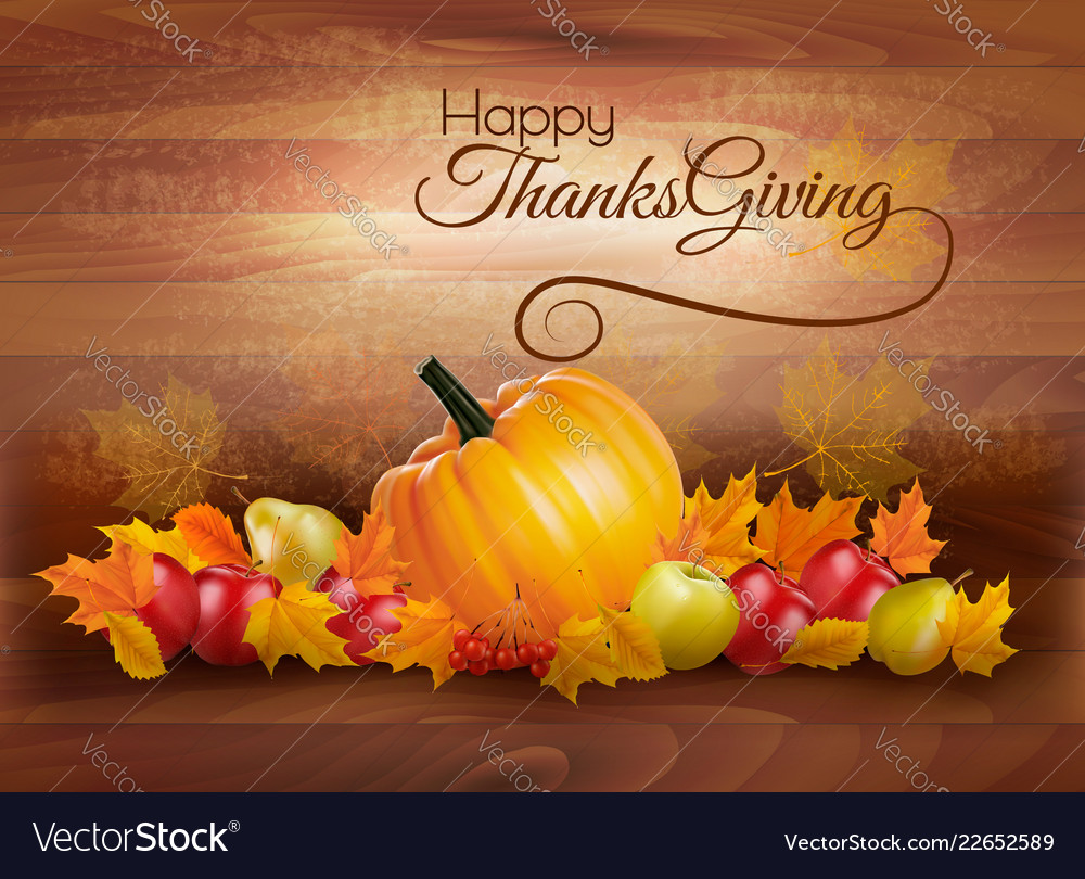 Happy Thanksgiving Card With Autumn Vegetables