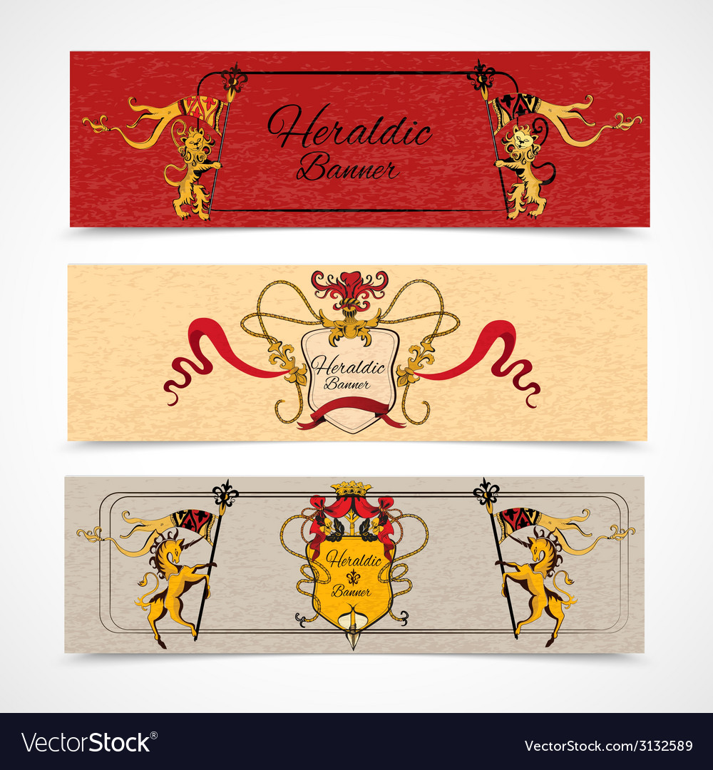 Heraldic banners set