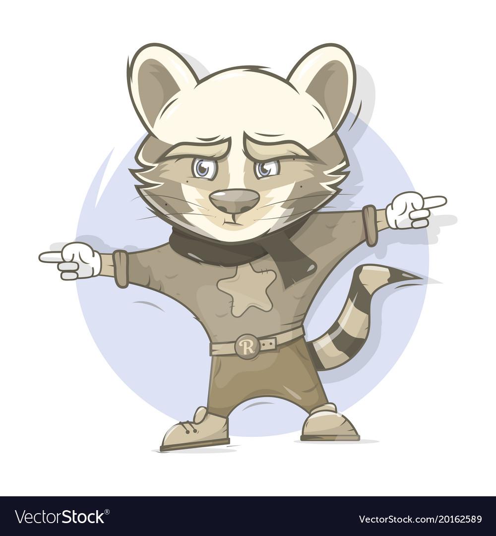 Raccoon character cartoon style