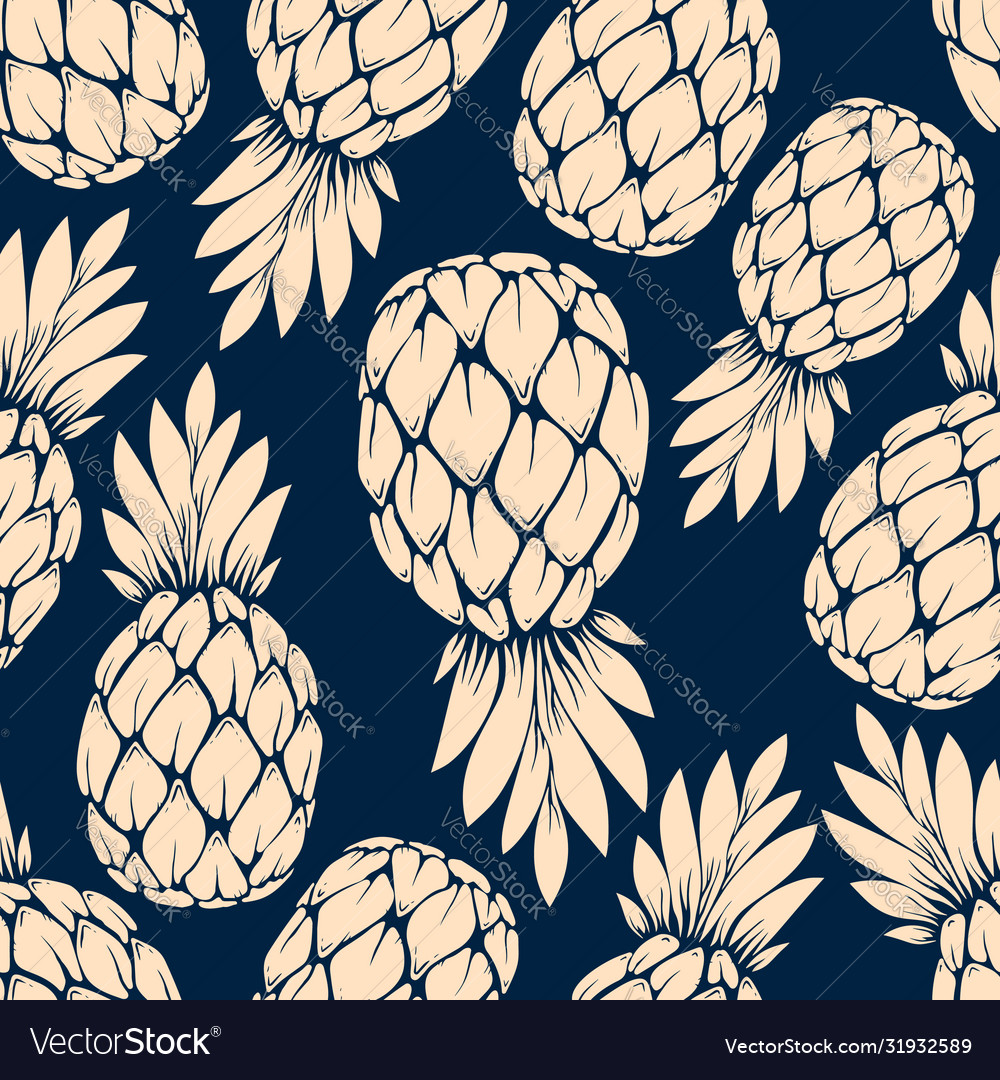 Seamless pattern with pineapples design element