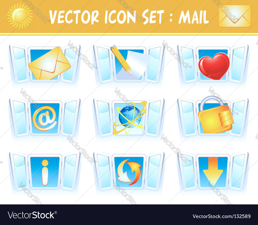 Set internet mail icons vector image
