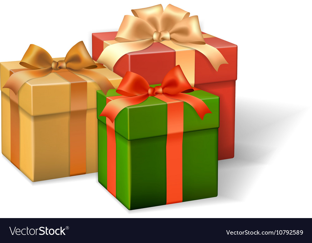Set of gift boxes different colors