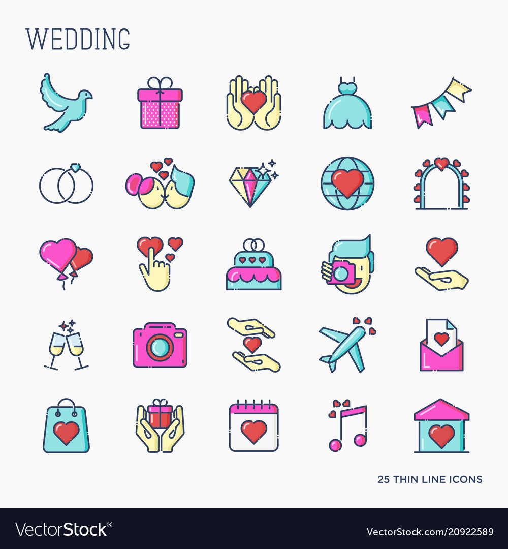 Set of wedding icons in line style for invitation
