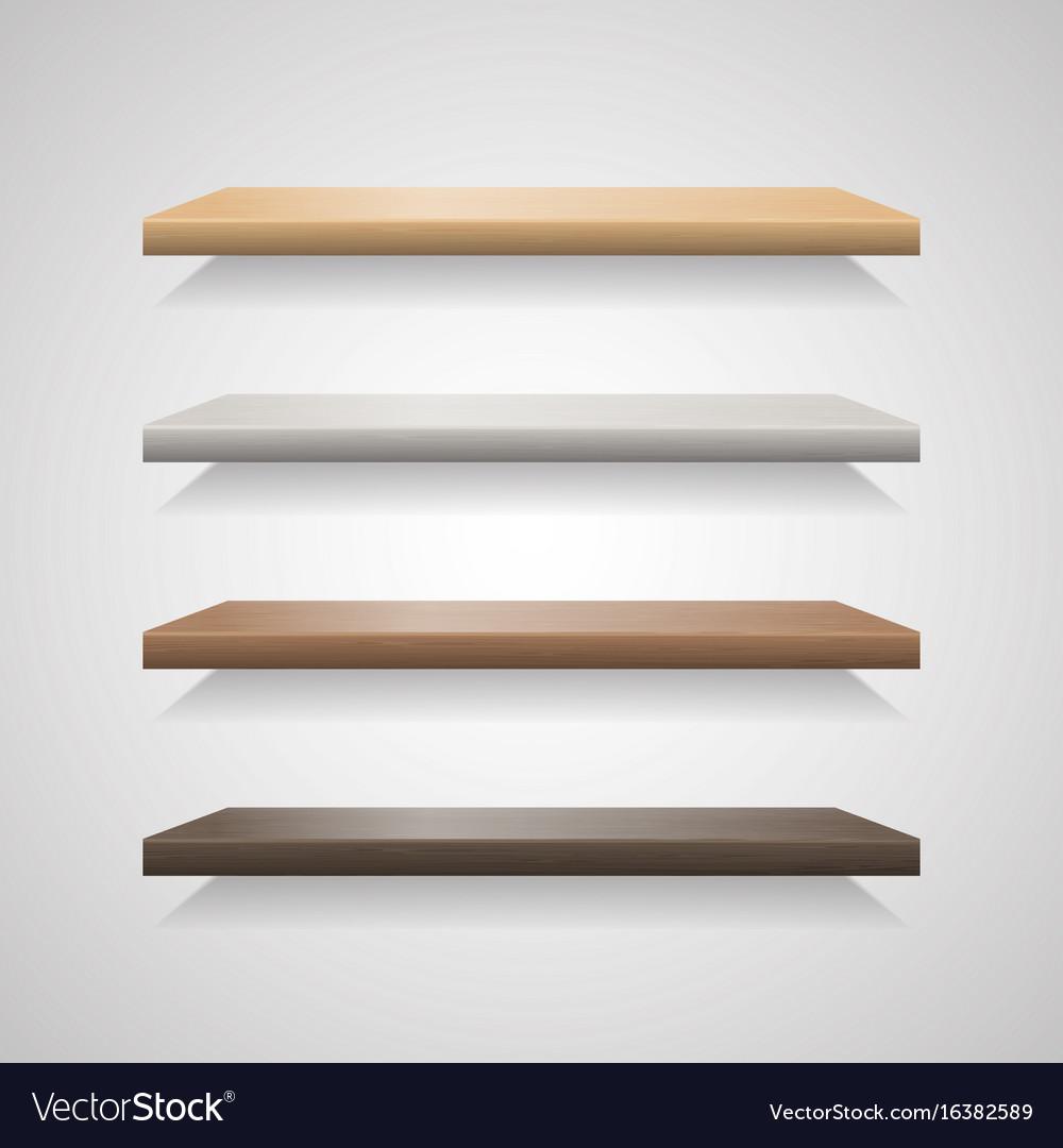 Set of wood shelves on grey background