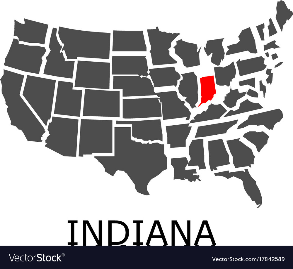 State of indiana on map of usa Royalty Free Vector Image