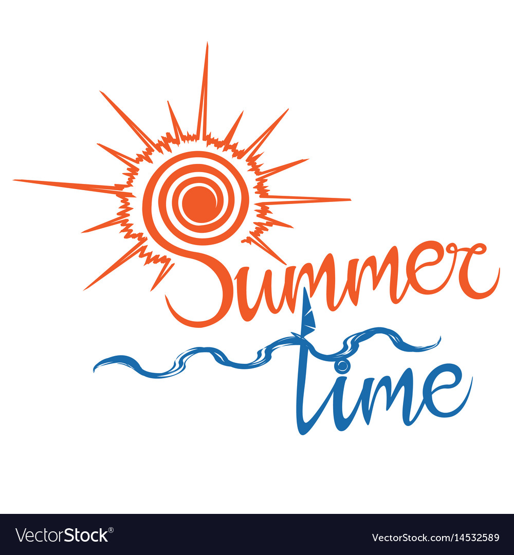 Summer logo time enjoy your holidays vector